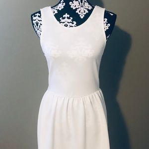 White Nordstrom dress with bow on the back.